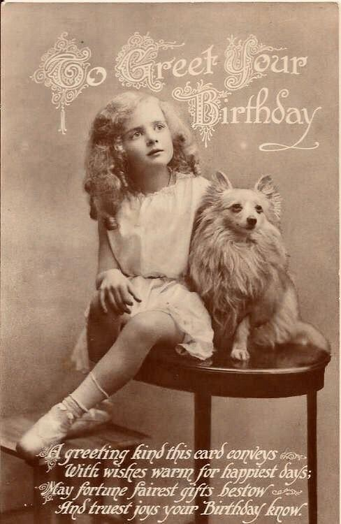 старинная фотография девочка с помиранским шпицем